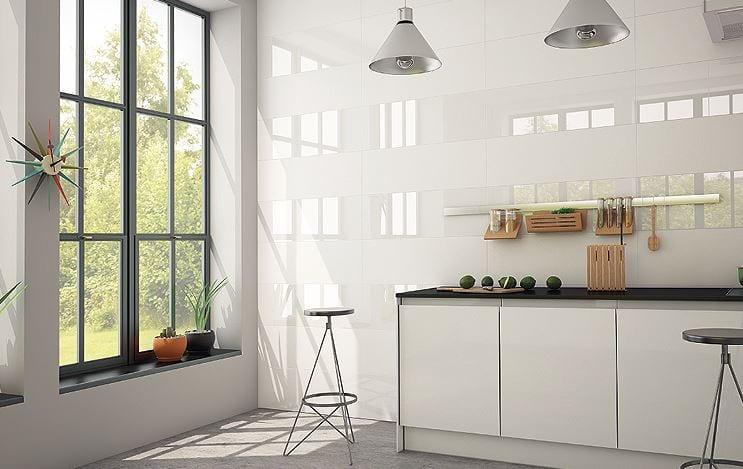 Image result for cocina con azulejos rectificados