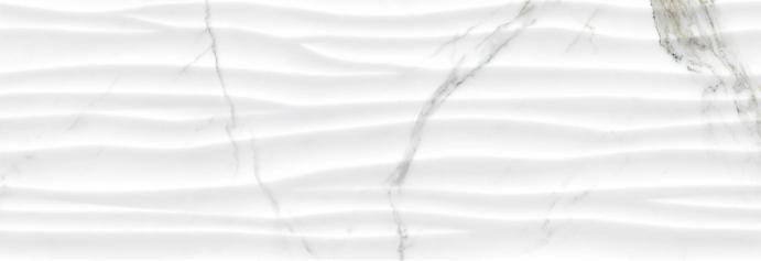 Revestimiento Pasta blanca imitación mármol RELIEVE STATUARIO WAVE BRILLO 30X90 rectificado