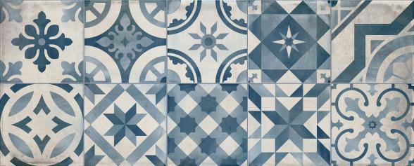 Revestimiento imitación hidráulico DECOR MONTBLANC BLUE 20X50 Brillo