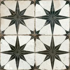 Pavimento imitación hidráulico FS STAR NEGRO 45x45 Mate