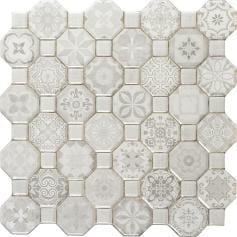 Pavimento imitación hidráulico TESSERA WHITE 33x33 Mate